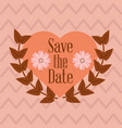 save the date love heart flower card vector image vector image