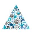 sea summer travel triangle design icon set vector image
