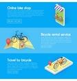 Set Bicycle banners Buy online bike rentals vector image vector image