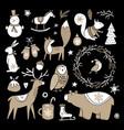 set cute doodle sketches christmas clip-arts vector image