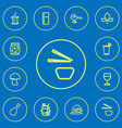 set of 12 editable food outline icons includes vector image vector image