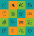 set of 16 e-commerce icons includes outgoing vector image vector image