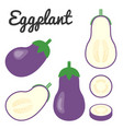 set of fruit and vegetable eggplant vector image vector image