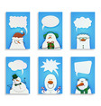 set of six cute snowmen vector image