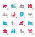 stylized human resource and employment icons vector image vector image