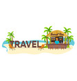 travel palm drink summer lounge chair vector image vector image