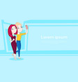two young girls take selfie photo using smart vector image vector image