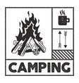 wanderlust camping stamp old school hand drawn t vector image vector image