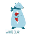 white bear in scarf with fish cartoon character vector image