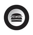round black and white button - hamburger icon vector image