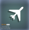 airplane icon symbol on the blue-green abstract vector image