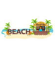 beach travel palm drink summer lounge chair vector image vector image