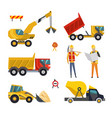 big set construction equipment machinery vector image vector image