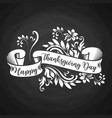 black chalk board with white ribbon and happy vector image vector image