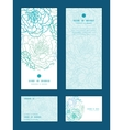 blue line art flowers vertical frame pattern vector image vector image