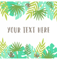 Card template Tropical leafs vector image vector image