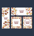 card templates with cartoon colorful nuts vector image