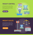 cartoon weight scales banner horizontal set vector image vector image