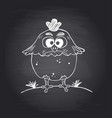 chalkboard background with funny chicken il vector image vector image