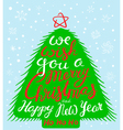 Christmas and New Year lettering in pine tree vector image