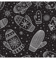 christmas boho mittens seamless pattern black vector image vector image