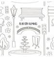 city street urban elements icon set pattern vector image