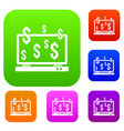 computer monitor and dollar signs set collection vector image vector image
