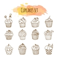 cupcake Set of 12 cute hand vector image vector image