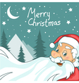 Cute cartoon Santa Claus on Christmas background vector image
