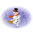 dancing snowman with broom and snowflakes eps10 vector image