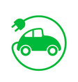electric car power loading green sign plug old vector image vector image