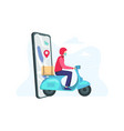 fast delivery scooter on mobile vector image vector image
