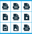 file icons set with audio education data and vector image