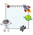 frame design template with astronaut and spaceship vector image vector image