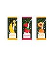 fruit milk labels set banana strawberry peach vector image