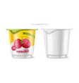 fruits yogurt set realistic berry vector image