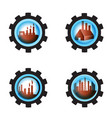 gear blue industrial petrochemical factory icon vector image