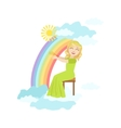 Girl Playing Harp With Rainbow And Clouds vector image vector image