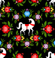 Gorodets painting Black horse and floral seamless vector image vector image