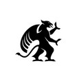 griffin silhouette isolated black gryphon vector image