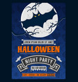 halloween party invitation with scary flying bat vector image vector image