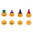 halloween pumpkin set flat elements and stickers vector image