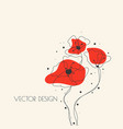 hand drawn red poppy flowers vector image