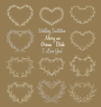 hand drawn wreaths in heart shape frame vector image