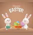 happy easter card two bunny egg vector image