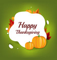 happy halloween card with leaf and pumpkins vector image