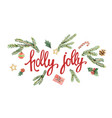 holly jolly lettering with watercolor vector image vector image