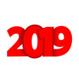 inscription 2019 for new year composition red vector image vector image