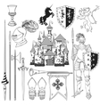 Knight Monochrome Icons Set vector image vector image