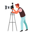 photographer journalist or paparazzi tripod and vector image vector image